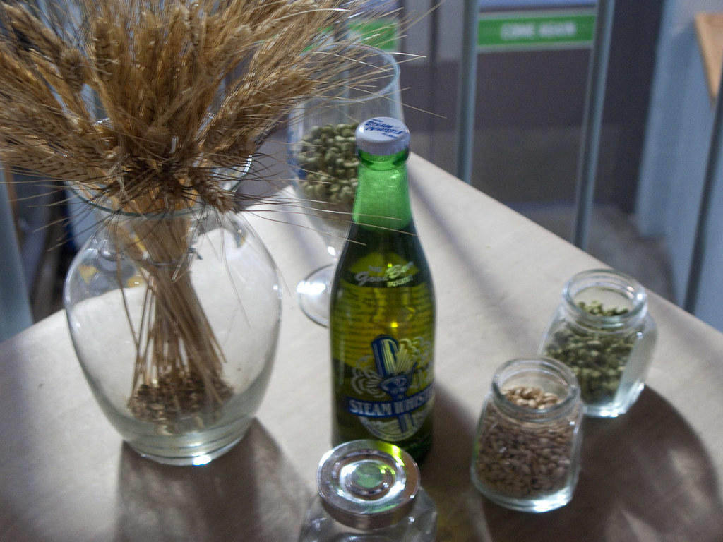 Beer ingredients on table during Steam Whistle Brewery tour in Toronto
