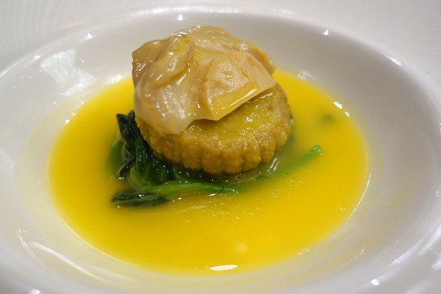 Braised 4-Head South African Abalone in Superior Pumpkin Broth. Chinese New Year 2015. Royal Pavilion Singapore