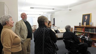 Archivist Kenneth Woodrow Henke lead the second group of WCC members which included Danuta Buzdygan-Stys, Marlene Gordon, Lorraine Haucke, and Nancy Lifland.WCCP-PTSLibraryFeb2015-IMG_4874_web