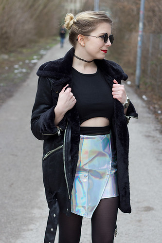 Iridescent Silver Panel Wrap Mini Skirt Style Moi Bosroom