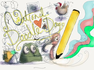 #NationalDoodleDay on iPad Mini, Paper app, Dagi and Pencil.