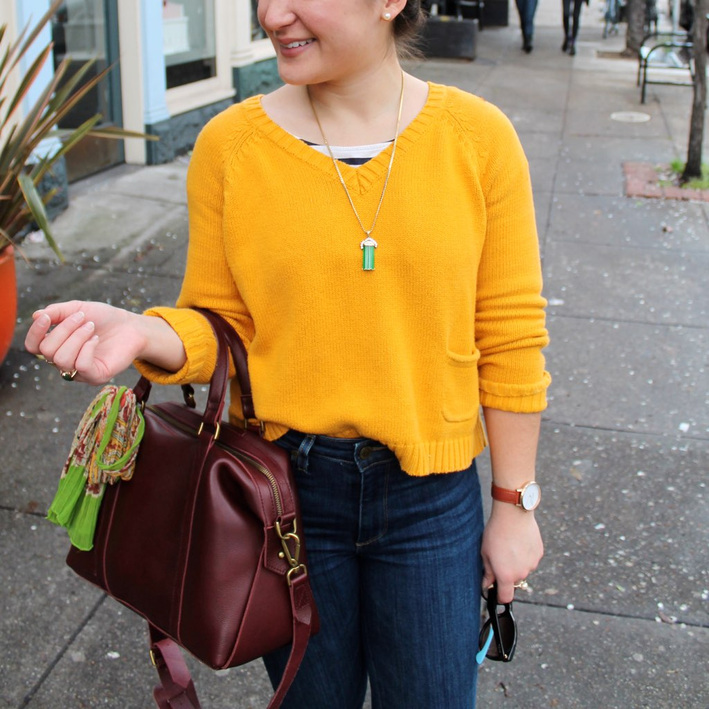 mustard sweater + high rise denim + burgundy leather bag