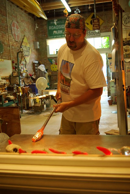 Working glass, glassblower, Clarksville, Missouri, June 8, 2007