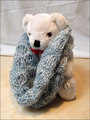 Sea Foam Cowl modeled by Teddy
