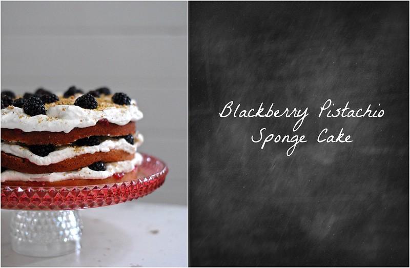 Blackberry Pistachio Sponge Cake