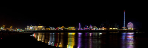 Pleasure Pier NIght Panorama, Galveston, Texas