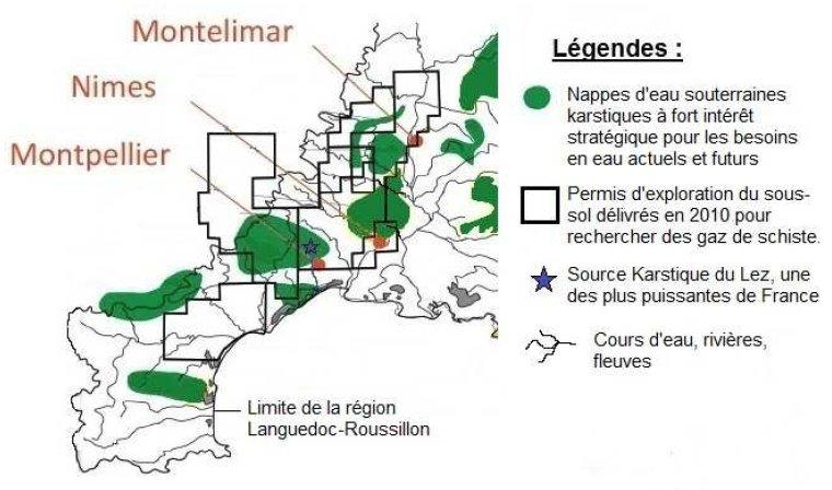 Les gaz de schiste et la nappe d'eau souterraine de type karstique dans la région du Languedoc-Roussillon