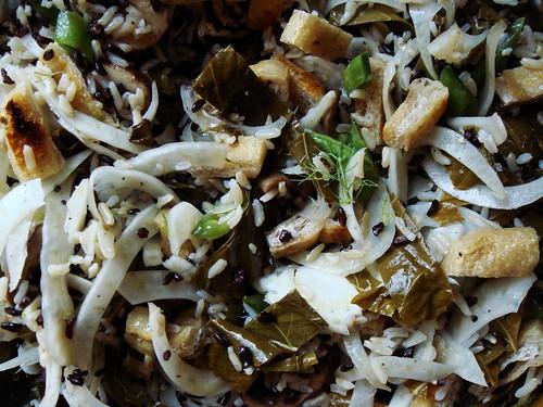 Grape Leaf Rice Pilaf with Fennel, Aburage, Crimini