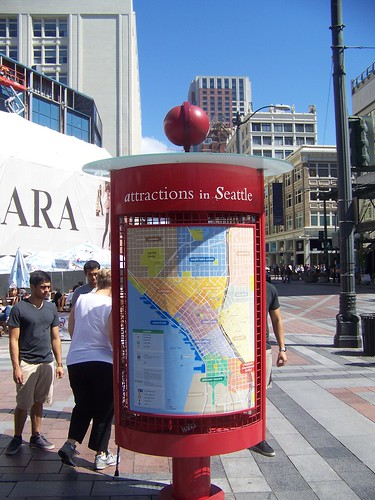 Attractions wayfinding map, Downtown Seattle