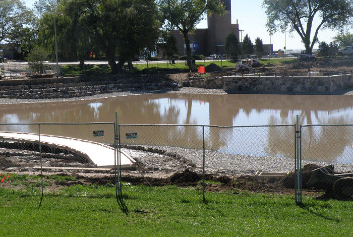 Ashley Pond in Los Alamos under construction in the fall of 2013