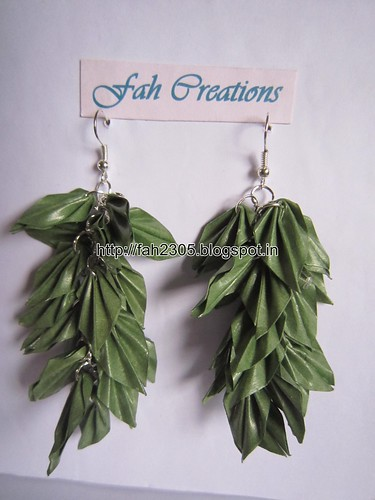 Handmade Jewelry - Origami Paper Leaves Earrings (18) by fah2305
