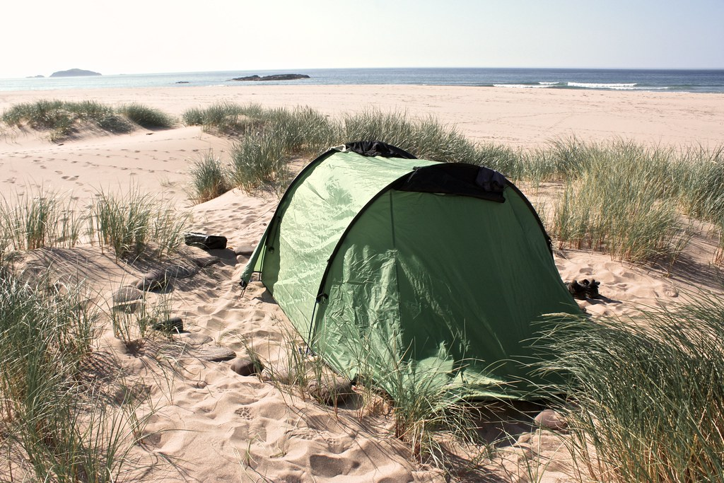 Wild camping at Sandwood Bay