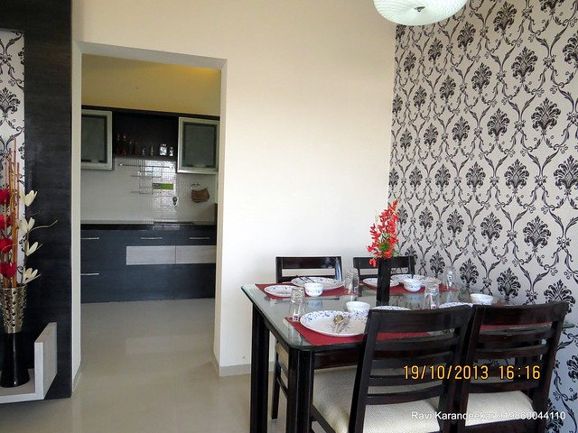 Dining & View of Kitchen - Visit 2 BHK Show Flat of Vastushodh Projects' UrbanGram Kolhapur, Township of 438 Units of 1 BHK 2 BHK Flats, behind S. P. Office, near Dream World Water Park, Kolhapur 416003 Maharashtra, India