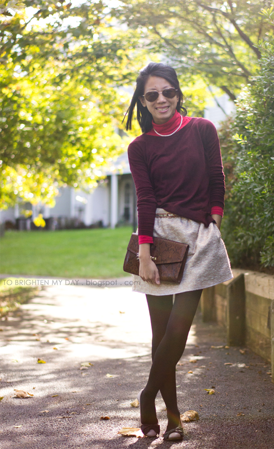 burgundy sweater, gold skirt
