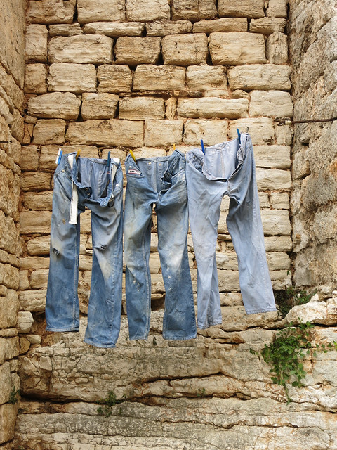 Drying jeans