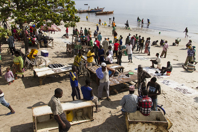 Beach market in Bagamoyo, Tanzania. Photo by Samuel Stacey, 2013.