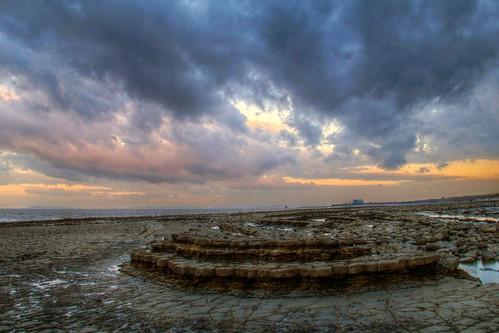 sunset sea cloud beach clouds evening coast seaside dramatic nuclear somerset shore geology intertidal geologist powerstation hdr jurassic hinkley foreshore bristolchannel kilve rockpavement lilstock sssi bridgwaterbay