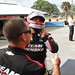 Juan Pablo Montoya straps his helmet on prior to his test session with Team Penske at Sebring