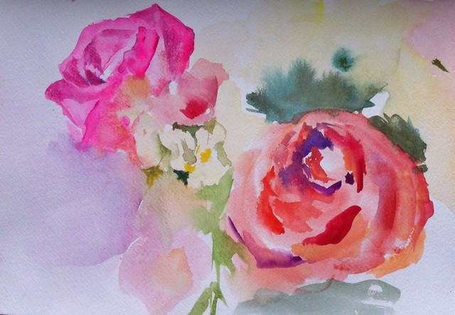 Glance, watercolor by Branislava Duranovic, 2013. BBG class: Evening Watercolor Painting