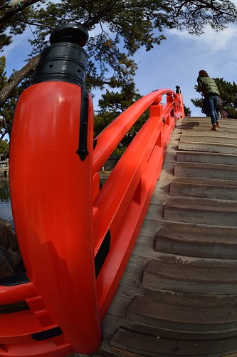 The red bridge of Sumiyoshi-taisha Shinto Shrine taken with fish-eye lens,No.1.