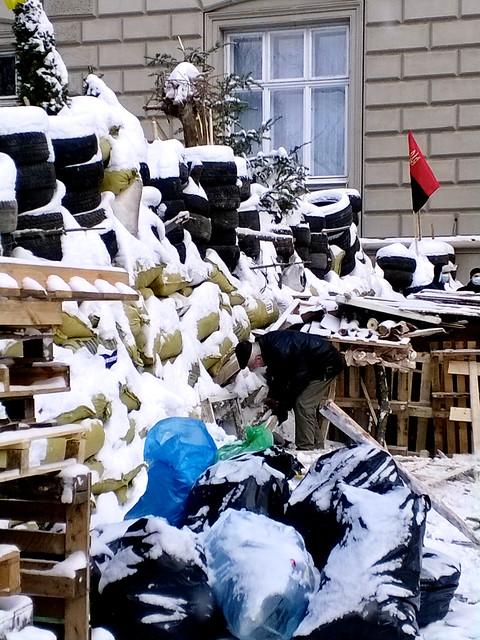 barricades. Lviv, Ukraine