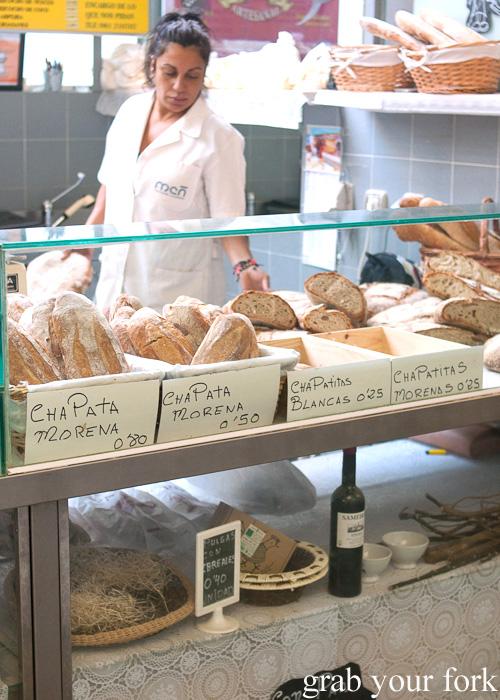 Breads from Panderia Laurita at Plaza de Lugo Market in A Coruna, Galicia, Spain