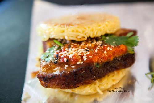 Adobo Shack Mash Up Ramen Burger filled with pork belly