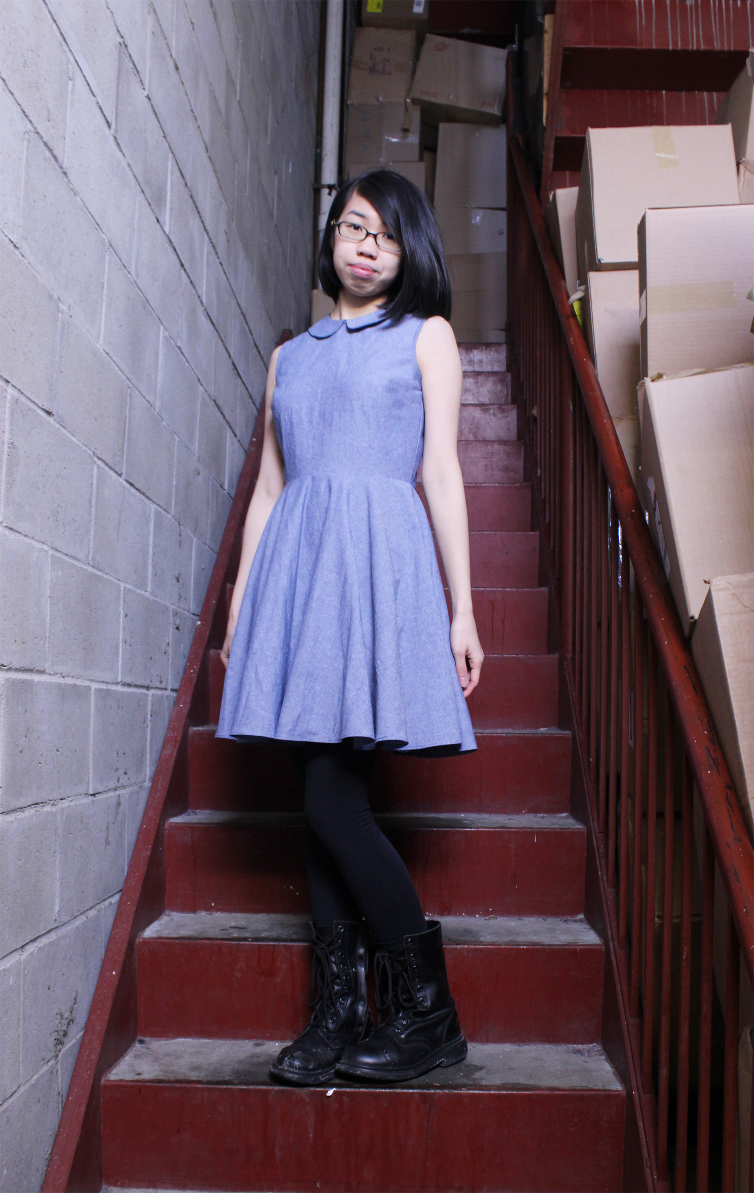Peter Pan Collar Chambray Dress