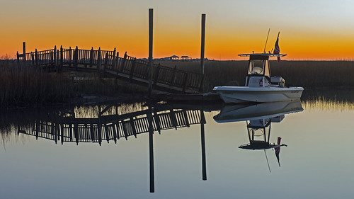 reflection sunrise boat southcarolina coastal carolina murrellsinlet nikond600 mosscreel