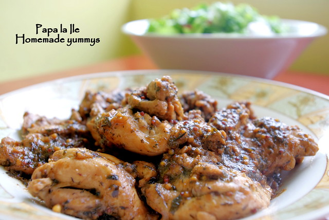 Pulpe de pui sos de usturoi cu busuioc si salata (2)