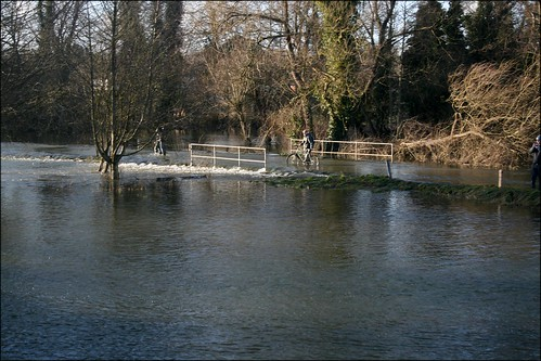 Flooded road over Cookham Moor