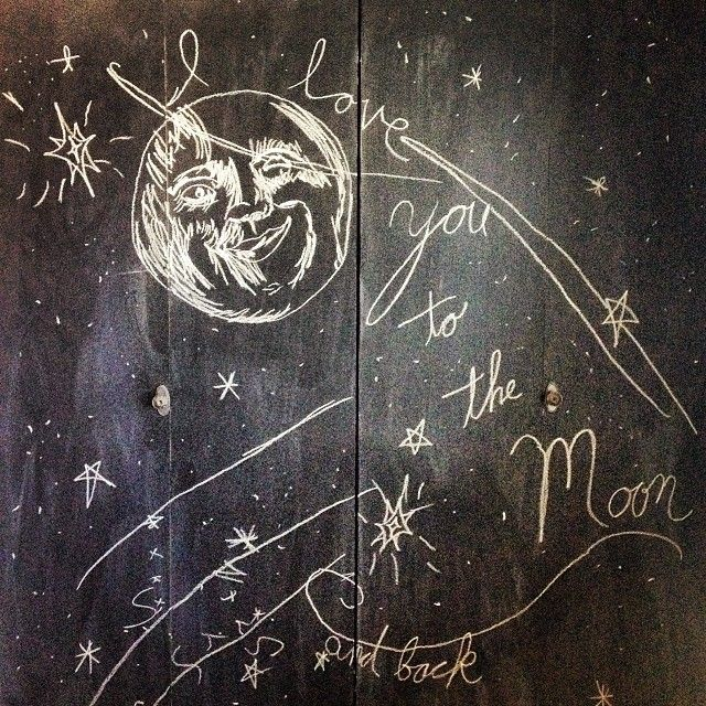 Moon, chalkboard, drawing, moon face, I love you to the moon and back,