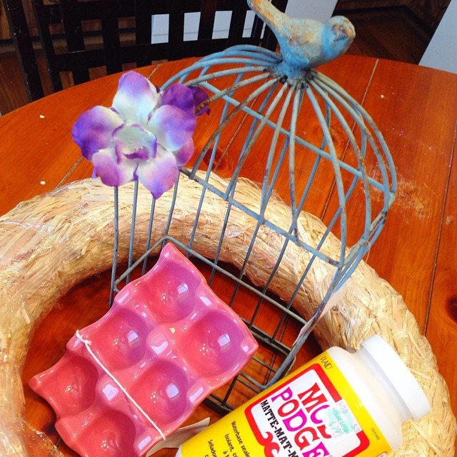 A little Monday pick me up, since I am still recovering from a cold Autumn and I went to Hobby Lobby after school, I have a Spring wreath idea, had to have the ceramic egg holder, Modge Podge and a darling little bird cage that I plan to use for a proje