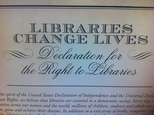 Barbara Stripling for NLW14 on the Declaration for the Right to Libraries