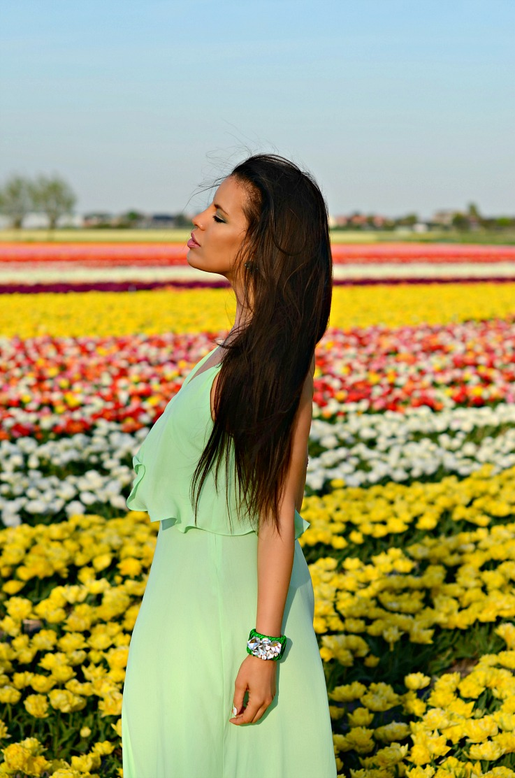 DSC_9443 tulips fields Lisse, Green zara dress, Myca Couture