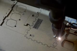Box being laser cut