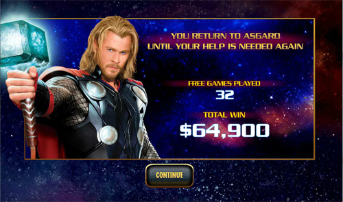 free Thor The Mighty Avenger Free Spins Feature Total Win