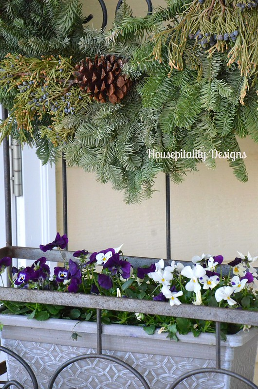 Evergreen wreath/pansies-Housepitality Designs
