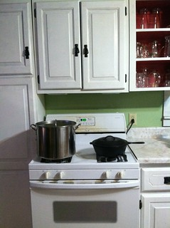 Brew kettle, chicken frying pan. My place, in my kitchen.