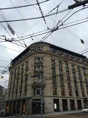Maze of overhead wiring