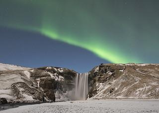 Skogafoss with Northern Lights