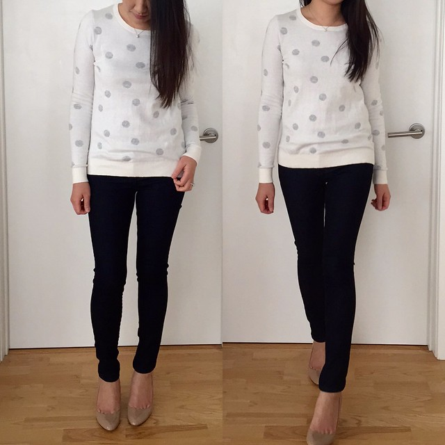 LOFT polka dot stitchy sweater, size XS