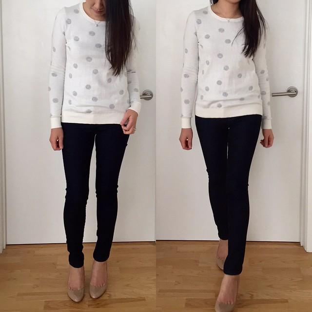 LOFT polka dot stitchy sweater, size XS
