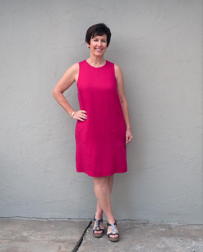 Pink Burda dress on me1