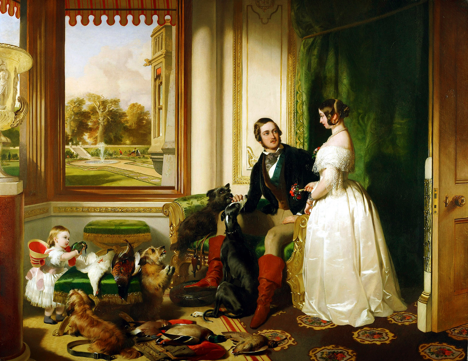 Queen Victoria and Prince Albert at home at Windsor Castle byE dwin Henry Landseer, 1843