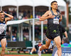 Matthew Centrowitz places first in the Men's 1500 meter race as Robby Andrews  trails in dismay on Sunday, July 10th at the 2016 US Olympic Trials at Hayward Field in Eugene, Ore. (photo by Liz Copan)
