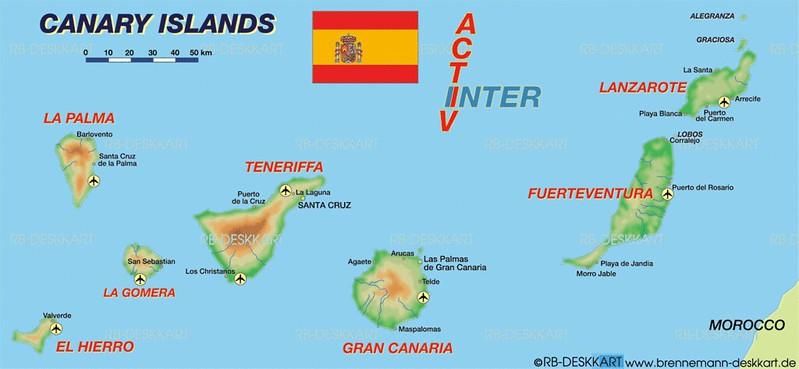 Mapa de aeroportos em Ilhas Canarias