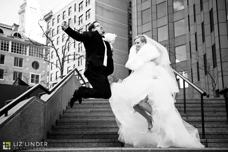 bride and groom jump, cute wedding shots, wedding photo ideas