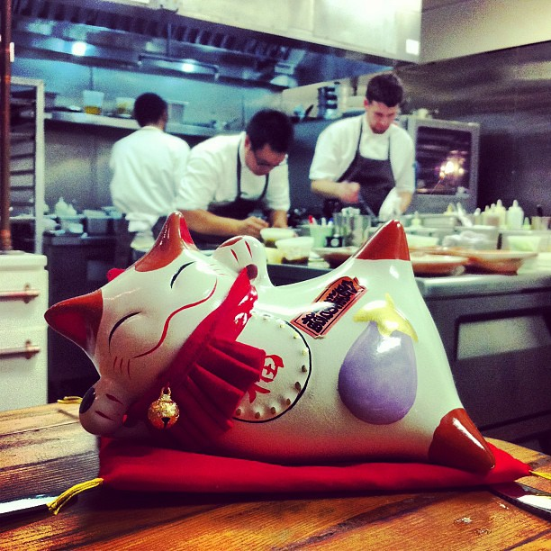 Chef Justin working behind our meal's spirit animal.