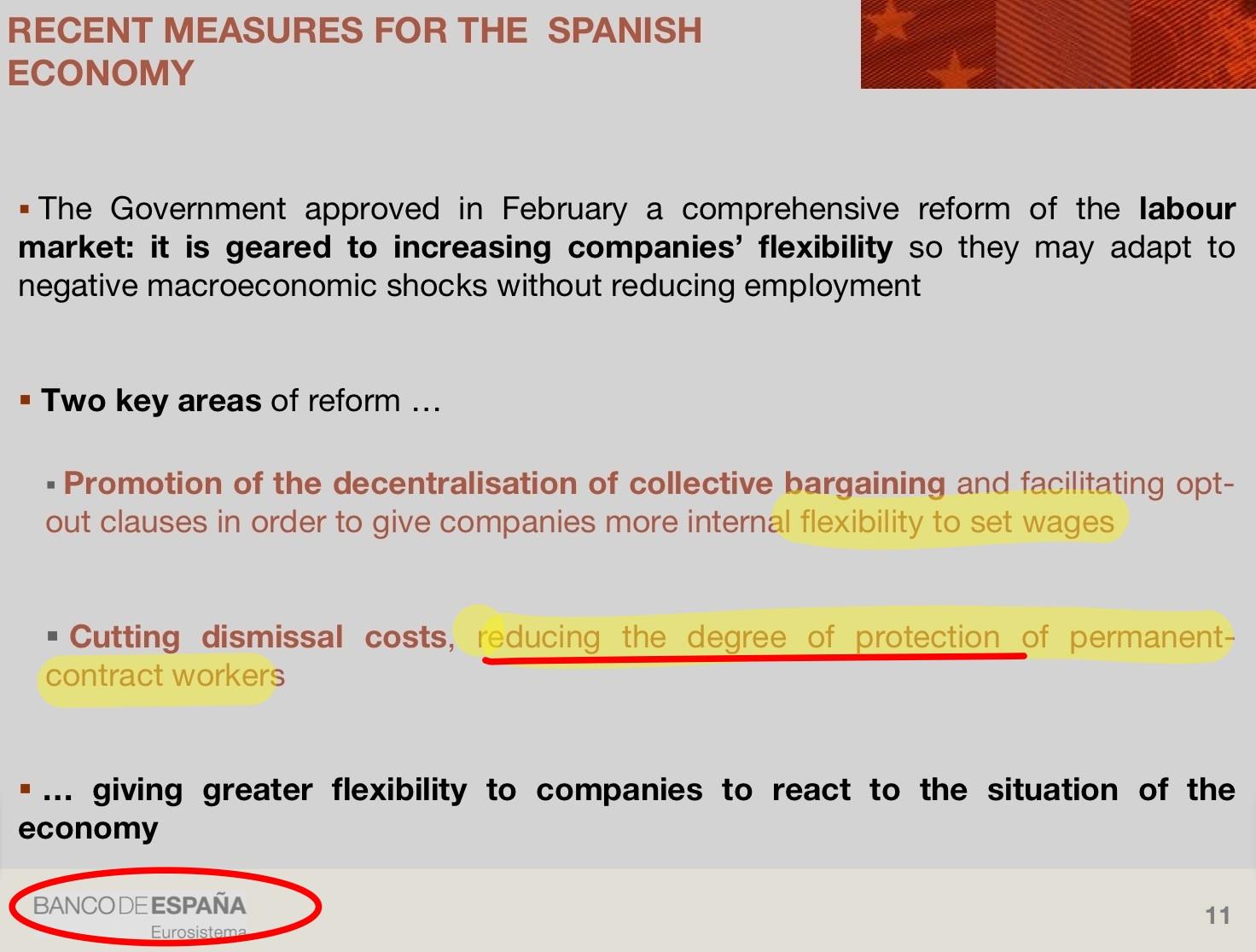 Paràgraf presentació banc espanya on explicita reducció drets laborals via reformes laborals com mèrit